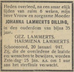 Johanna Lammerts Dilling, 20-1-1947, overlijdensadvertentie.