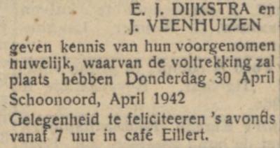 Dijkstra en Veenhuizen, 30-4-1942, huwelijksaankoniging