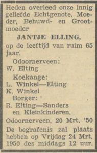 Jantje Elling, 20-3-1950, overlijdensadvertentie
