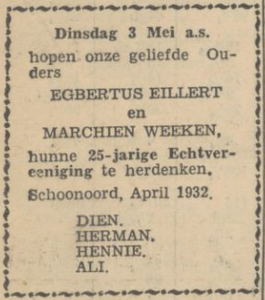 Eillert en Weken, 3-5-1932, 25 jarig huwelijk