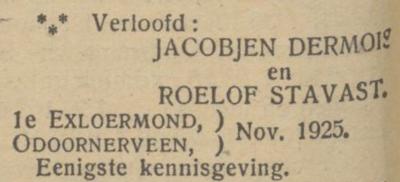 Dermois en Stavast, 11-1925, verloofd