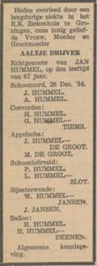Aaltje Drijver, 26-12-1934, overlijdensadvertentie