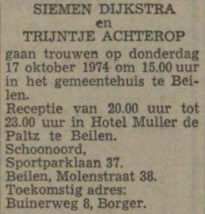 Dijkstra en Achterop, 17-10-1974, huwelijksaankondiging