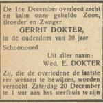 Gerrit Dokter, 16-12-1947, overlijdensadvertentie