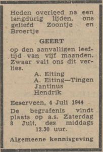 Geert Eiting, 4-7-1944, overlijdensadvertentie