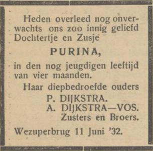 Purina Dijkstra, 11-6-1932, overlijdensadvertentie