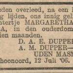 Margaretha Jacoba Dupper, 12-7-1906, overlijdensadvertentie
