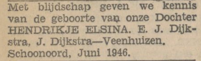 Hendrikje Elsina Dijkstra, 6-1946, geboorteadvertentie