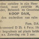 Koop Dam, 4-2-1947, overlijdensadvertentie