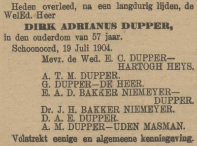 Dirk Adrianus Dupper, 19-7-1904, overlijdensadvertentie