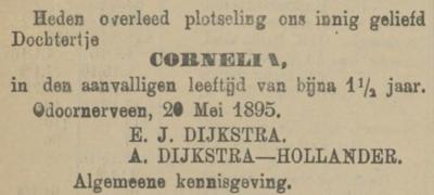 Cornelia Dijkstra, 20-5-1895, overlijdensadvertentie