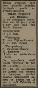 Hilje Dijkhuis, 16-7-1968, overlijdensadvertentie