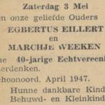 Eillert en Weken, 3-5-1947, 40 jarig huwelijk