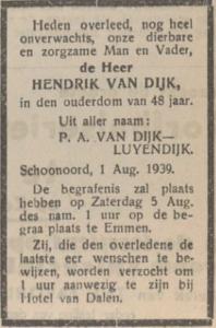 Hendrik van Dijk, 1-8-1939, overlijdensadvertentie