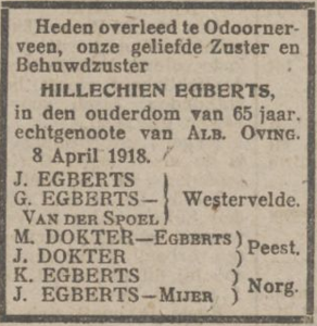 Hillechien Egberts, 8-4-1918, overlijdensadvertentie
