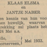 Elsma en Naber, 24-5-1933, huwelijksaankondiing