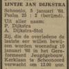 IJntje Jan Dijkstra, 5-1-1968, overlijdensadvertentie