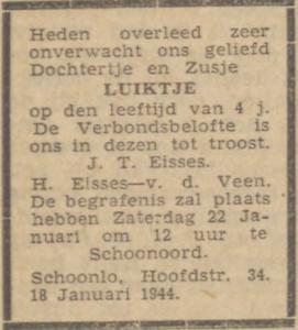 Luiktje Eisses, 18-1-1944, overlijdensadvertentie