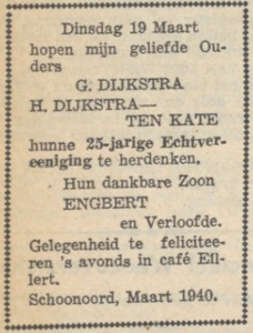 Dijkstra en ten Kate, 19-3-1940, 25 jarig huwelijk