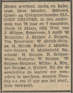 Sijgien Drijver, 5-6-1948, overlijdensadvertentie