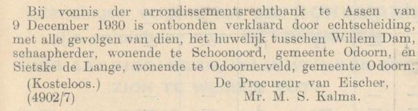 Dam en de Lange, 9-12-1930, echtscheiding