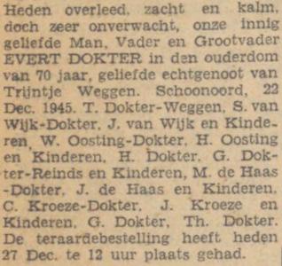 Evert Dokter, 22-12-1945, overlijdensadvertentie