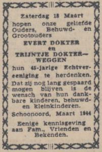 Dokter en Weggen, 18-3-1944, 45 jarig huwelijk