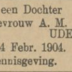 Elisabeth Cornelia Dupper, 14-2-1904, geboorteadvertentie