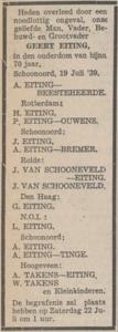Geert Eiting, 19-7-1939, overlijdensadvertentie