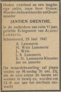 Jantien Drenthe, 25-6-1947, overlijdensadvertentie