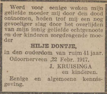 Hilje Dontje, 22-2-1917, overlijdensadvertentie