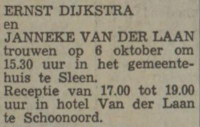 Dijkstra en van der Laan, 6-10-1970, huwelijksaankondiging
