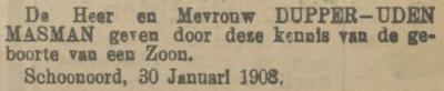 Dirk Adrianus Jan Dupper, 30-1-1908, geboorteadvertentie