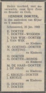 Hendrik Dokter, 25-1-1942, overlijdensadvertentie