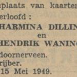 Dilling en Waning, 15-5-1949, verloofd