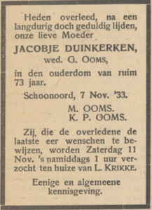 Jacobje Duinkerken, 7-11-1933, overlijdensadvertentie