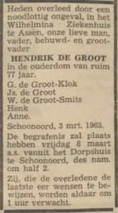 Hendrik de Groot, 3-3-1963, overlijdensadvertentie