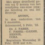 Anton Faber, 5-2-1932, overlijdensadvertentie