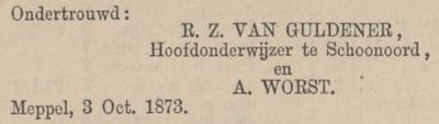 van Gulderen  en Worst, 3-10-1873 ondertrouwadvertentie