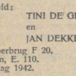 de Groot en Dekker, 11-3-1942, verloofd