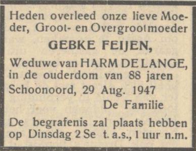Gebke Feijen, 29-8-1947, Overlijdensadvertentie