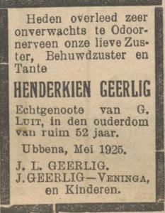 Henderkien Geerlig, 9-5-1925, overlijdensadvertentie