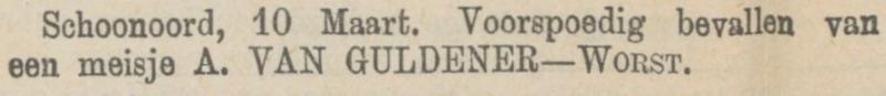 Gezina Henderika van Guldener, 10-3-1879 geboorteadvertentie