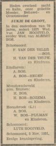 Aukje de Groot, 5-11-1931, overlijdensadvertentie