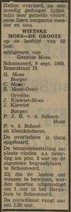 Wietske de Groote, 9-9-1969, overlijdensadvertentie