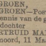 Geertruid Maria Groen, 11-3-1917, geboorteadvertentie