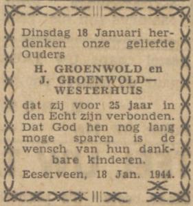 Groenwold en Westerhuis, 18-1-1944, 25 jarig huwelijk