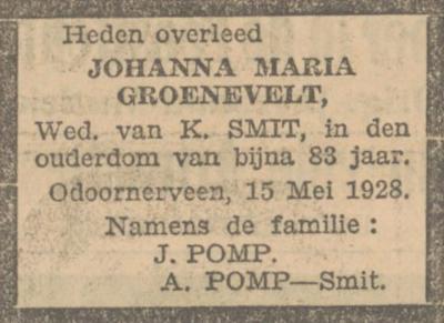 Johanna Maria Groeneveld, 15-5-1928, overlijdensadvertentie