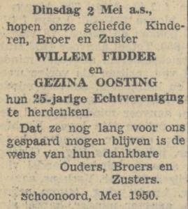 Fidder en Oosting, 2-5-1950, 25 jarig huwelijk