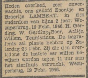 Lambert Gerding, 19-2-1946, overlijdensadvertentie